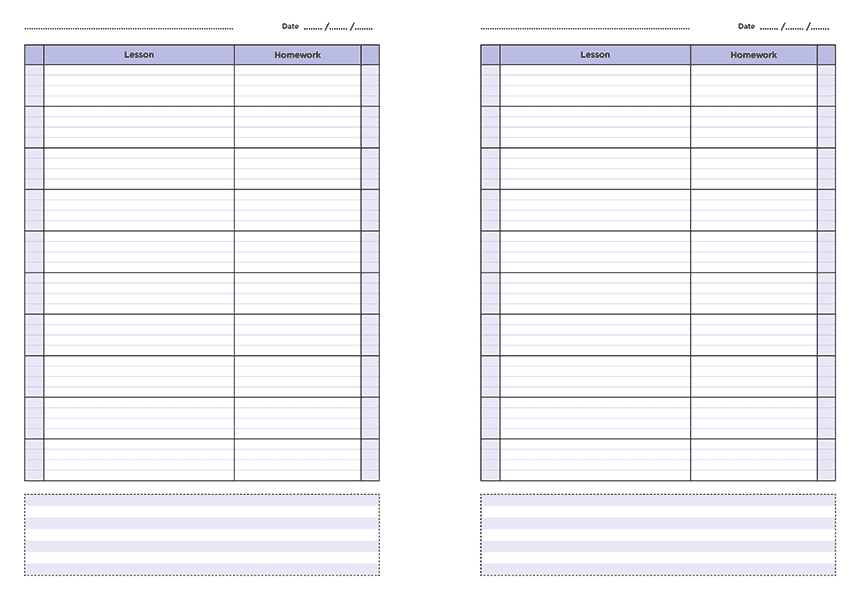 personalised A4 ten lesson teacher planner page a day