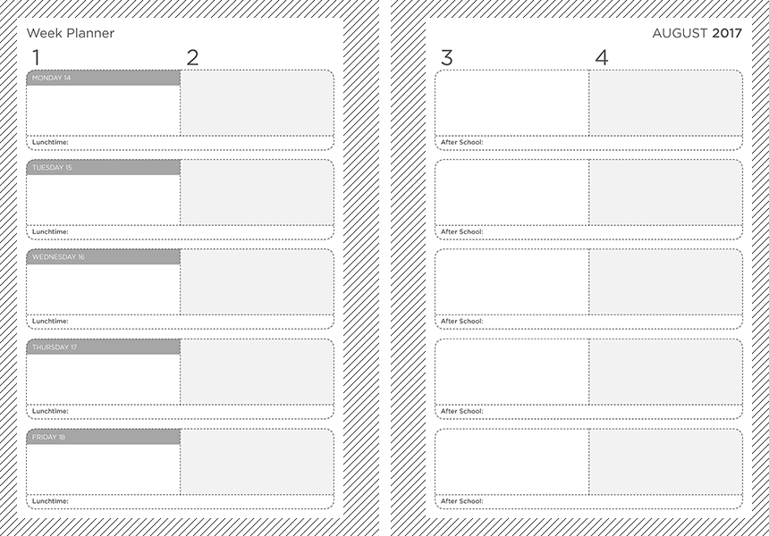 personalised A5 four lesson teacher planner 2017/18