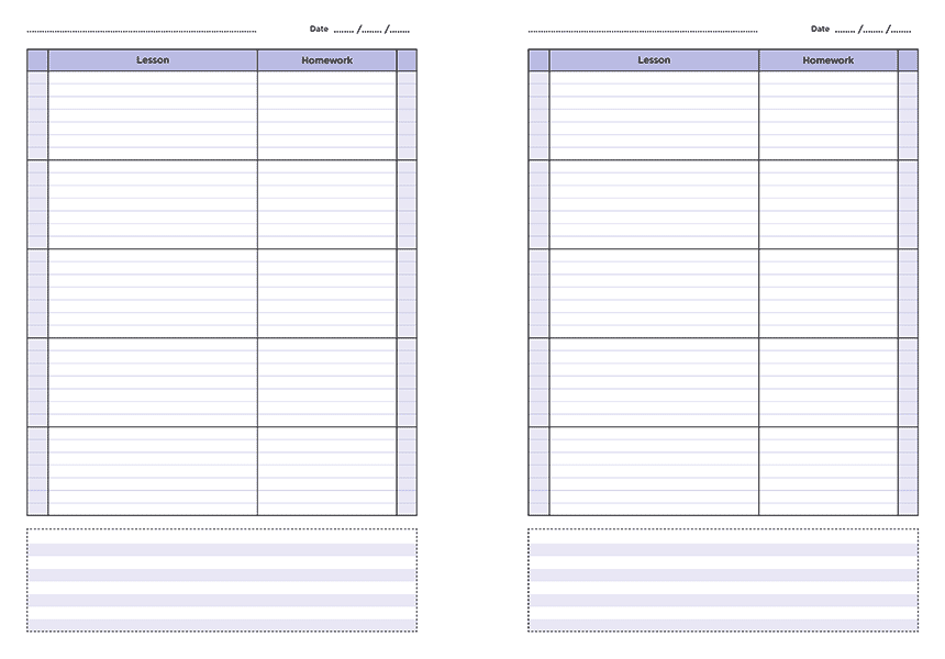 personalised A4 five lesson teacher planner page a day