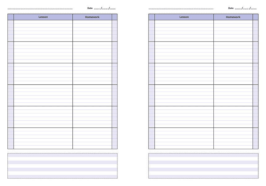 personalised A4 six lesson teacher planner page a day