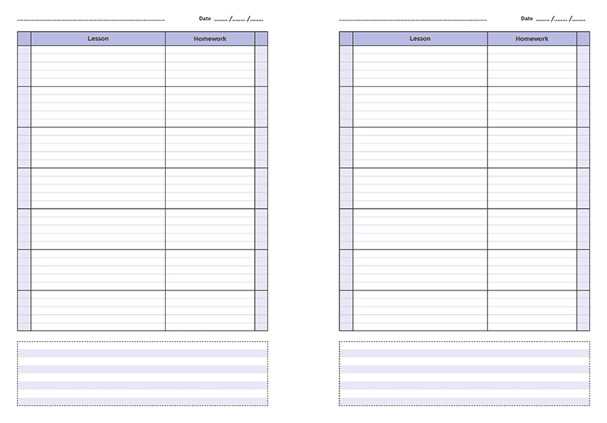 personalised A4 seven lesson teacher planner page a day