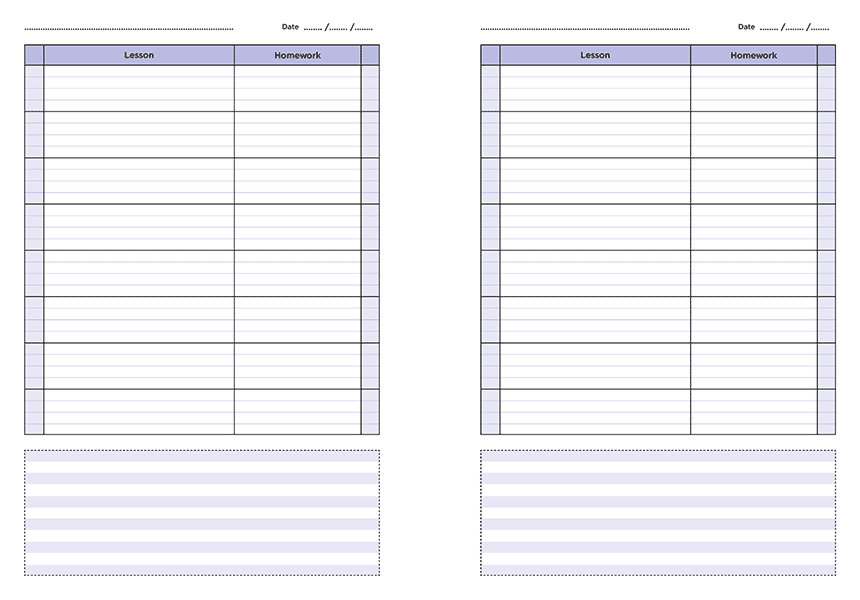 personalised A4 eight lesson teacher planner page a day