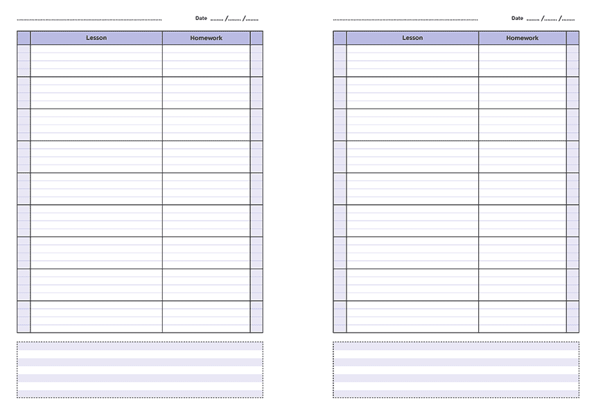 personalised A4 nine lesson teacher planner page a day